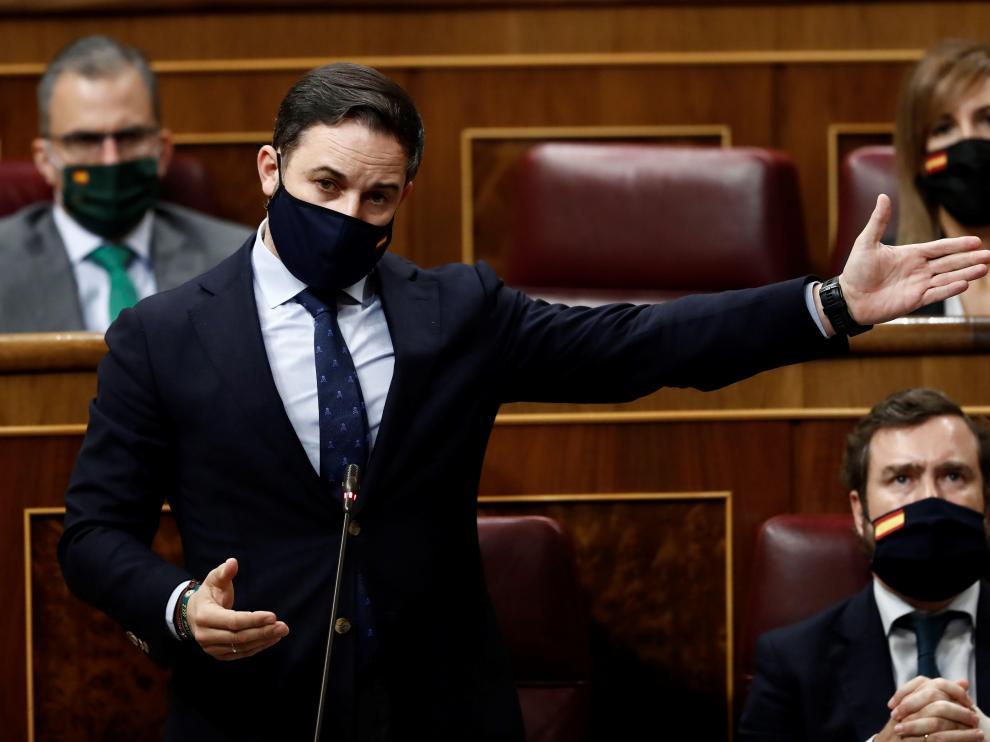Santiago Abascal, durante la sesión de control al Gobierno de esta semana.