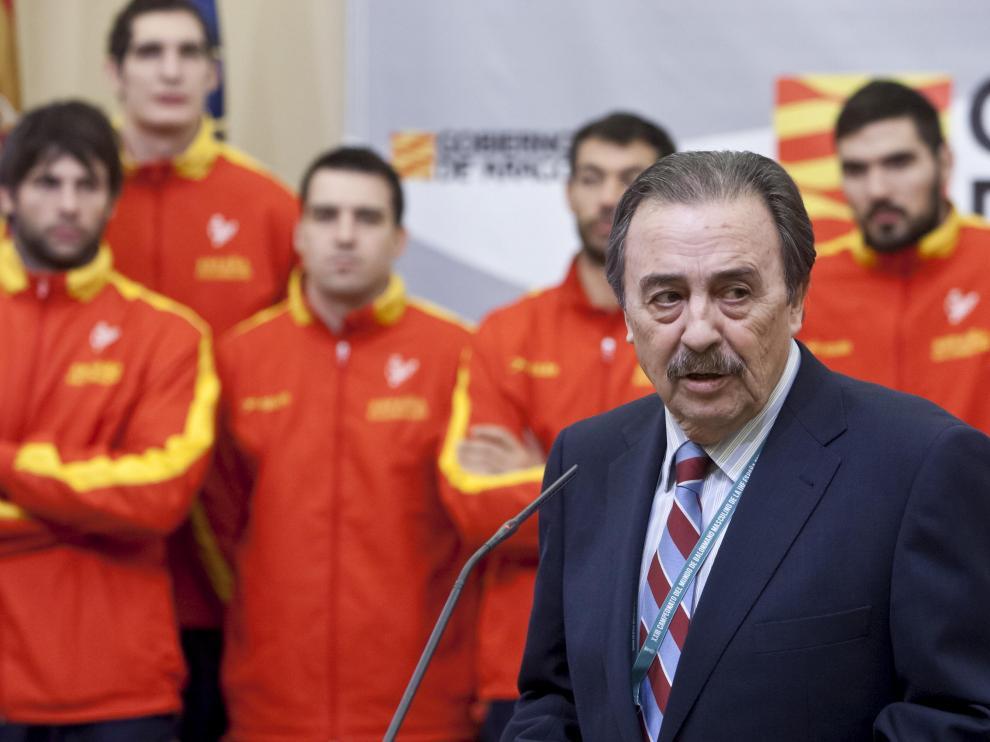 Juan de Dios Román, con la selección española de balonmano, en una imagen de archivo.