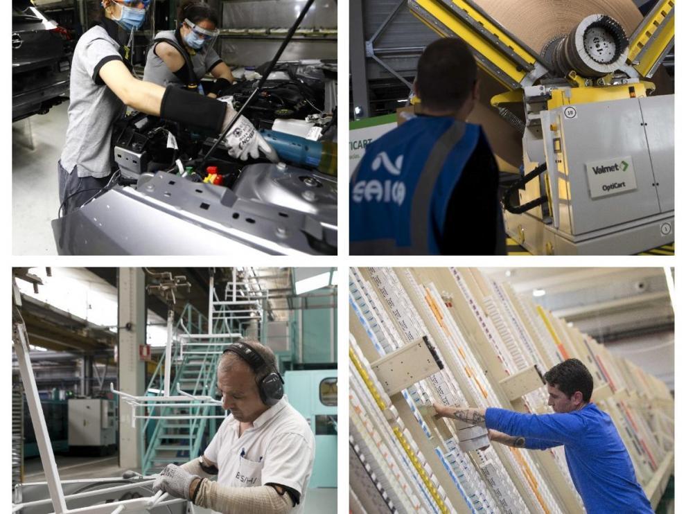 Imágenes de centros de trabajo de PSA Zaragoza, Saica, BSH Electrodomésticos y Aliance Healthcare.