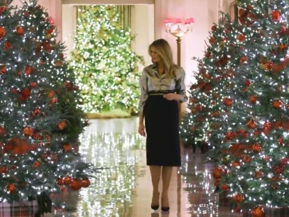 Melania Trump, en el vídeo en el que muestra la decoración navideña de la Casa Blanca.
