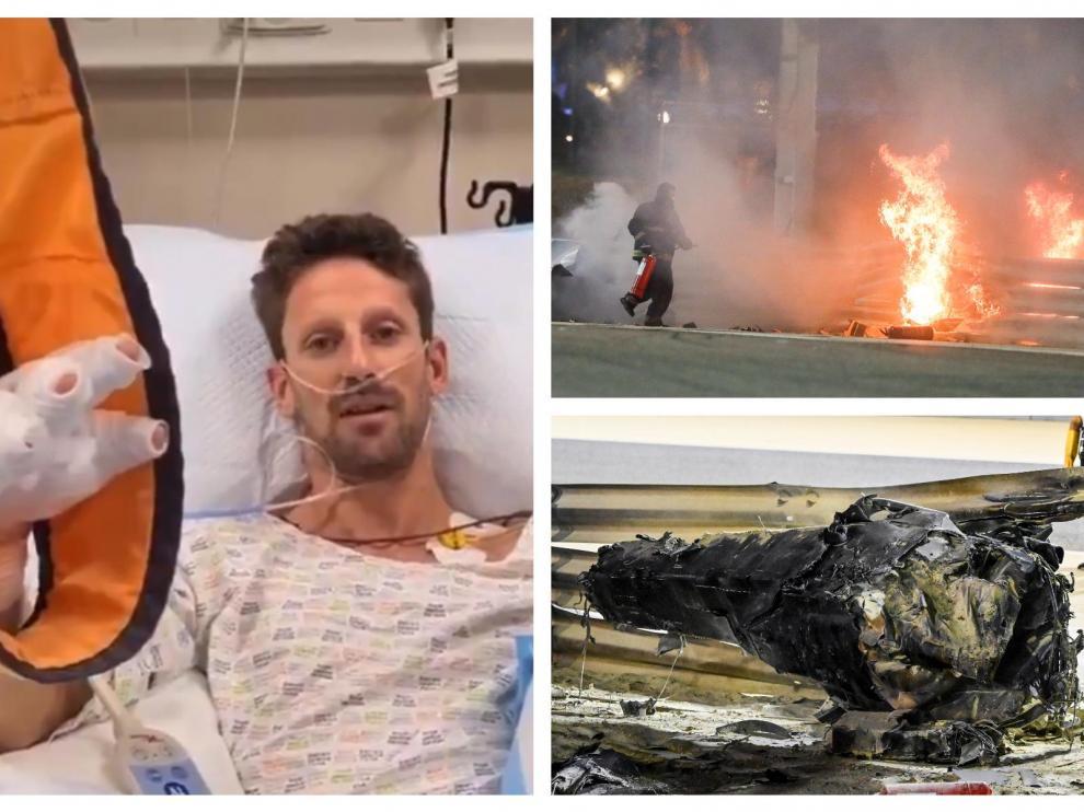 Romain Grosjean en el hospital tras su accidente en Barein