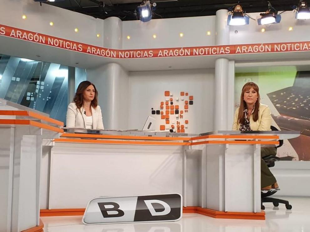 La consejera de Sanidad, Sira Repollés, en el plató de Aragón TV este jueves.