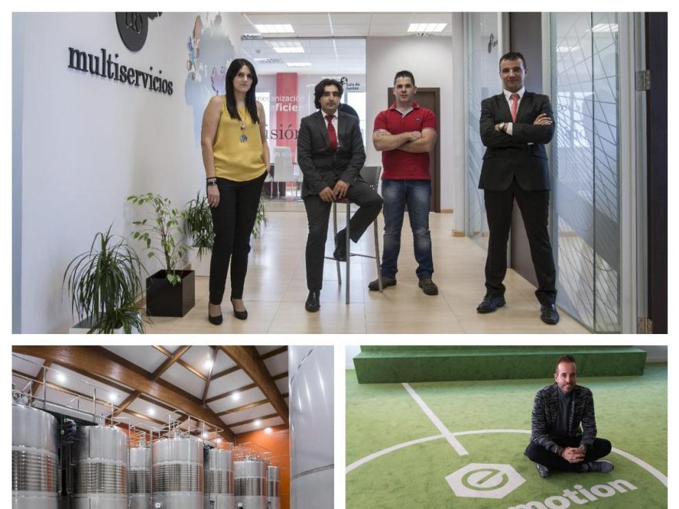 Imágenes de UB Group, Bodegas Borsao y Fútbol Emotion, empresas aragonesas de la lista Cepyme500.