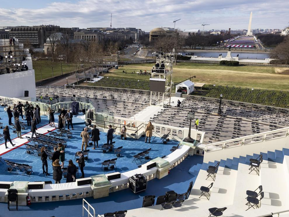 Escenario donde jurarán su cargo Biden y Harris