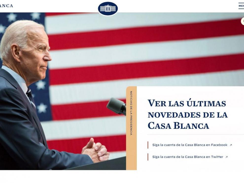 Portada de la web de la Casa Blanca, en español.