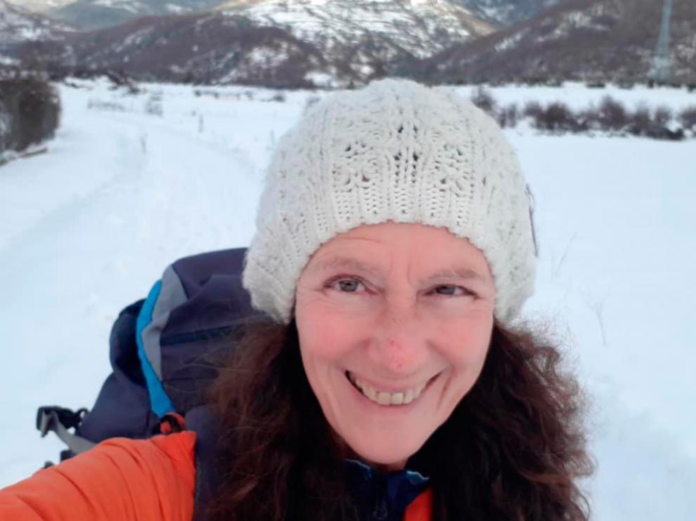Danielle Huby, en el albergue de Castiello de Jaca - Camino Aragonés