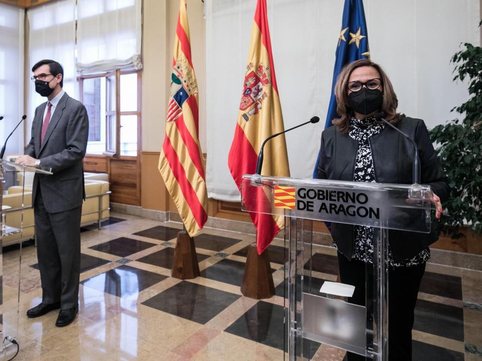 Mayte Pérez fue preguntada sobre la polémica del lobo tras la visita institucional del secretario de Estado para la UE.