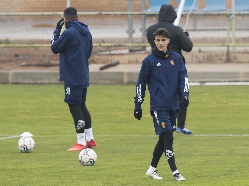 Francés, en un entrenamiento del Real Zaragoza.