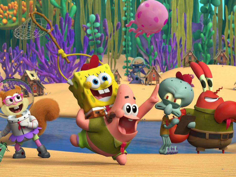 Sandy, Bob Esponja, Patricio, Calamardo y Don Cangrejo, en 'Kamp Koral'.
