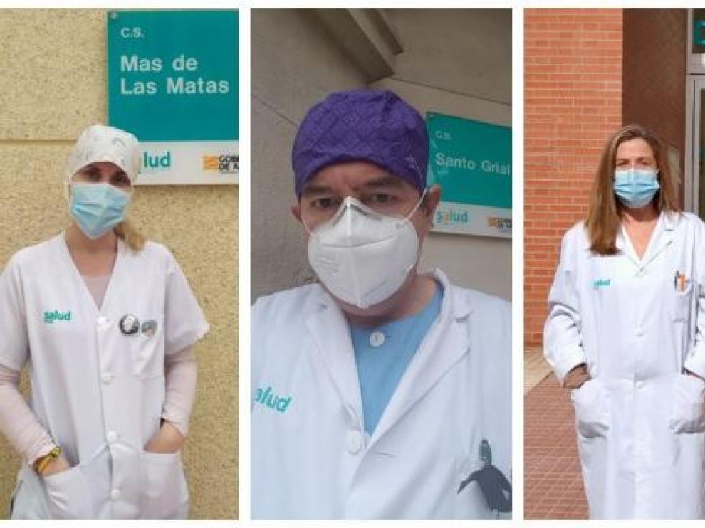 De izquierda a derecha, Pilar Borrás (coordinadora del C. S. Mas de las Matas), Ramón Boira (médico del Santo Grial) y Pilar Lafuente (del Centro de Salud Delicias Norte).