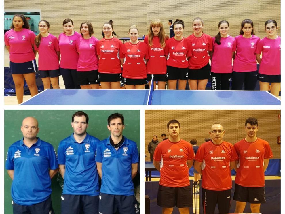 Arriba, las formaciones del CH Helios y Publimax CAI Santiago de Primera División femenina; abajo, a la izquierda, terceto del CN Helios de Primera masculina; a la derecha, equipo del Publimax de Segunda.