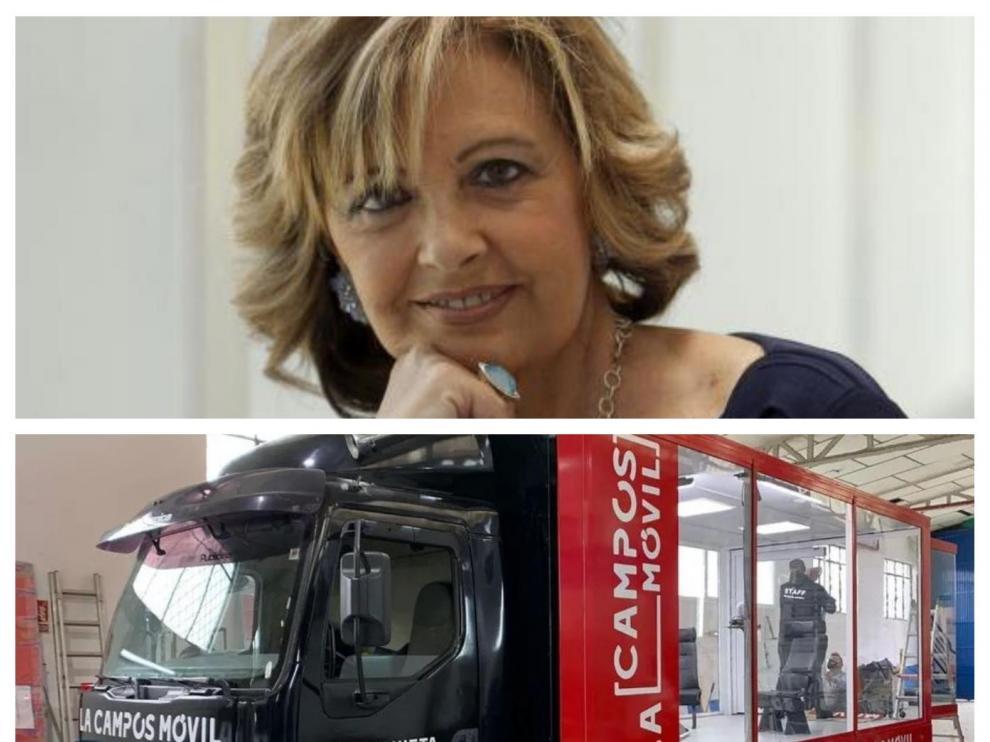 María Teresa Campos y el camión-plató de su nuevo programa de Telecinco