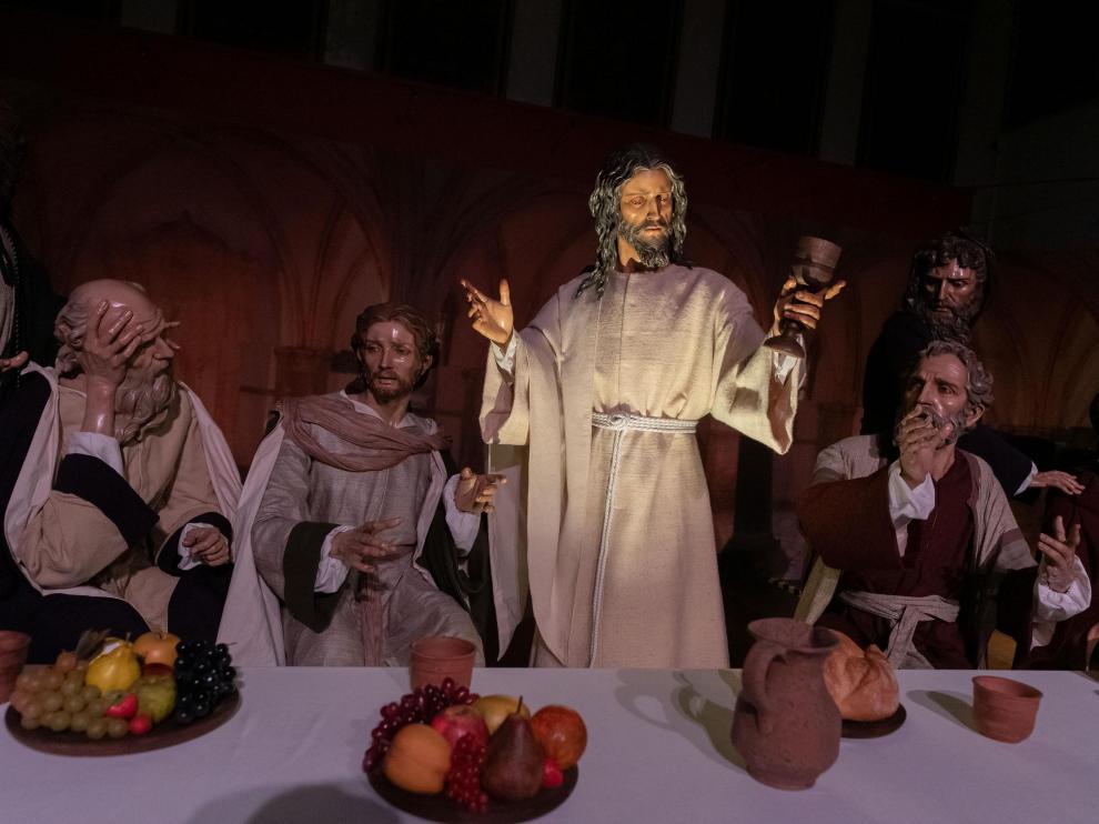 Recreación de la Última Cena, una de las cuatro escenas de la exposición en el Alma Mater Museum.