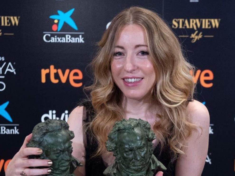 Pilar Palomero, el pasado miércoles al recibir los premios Goya.