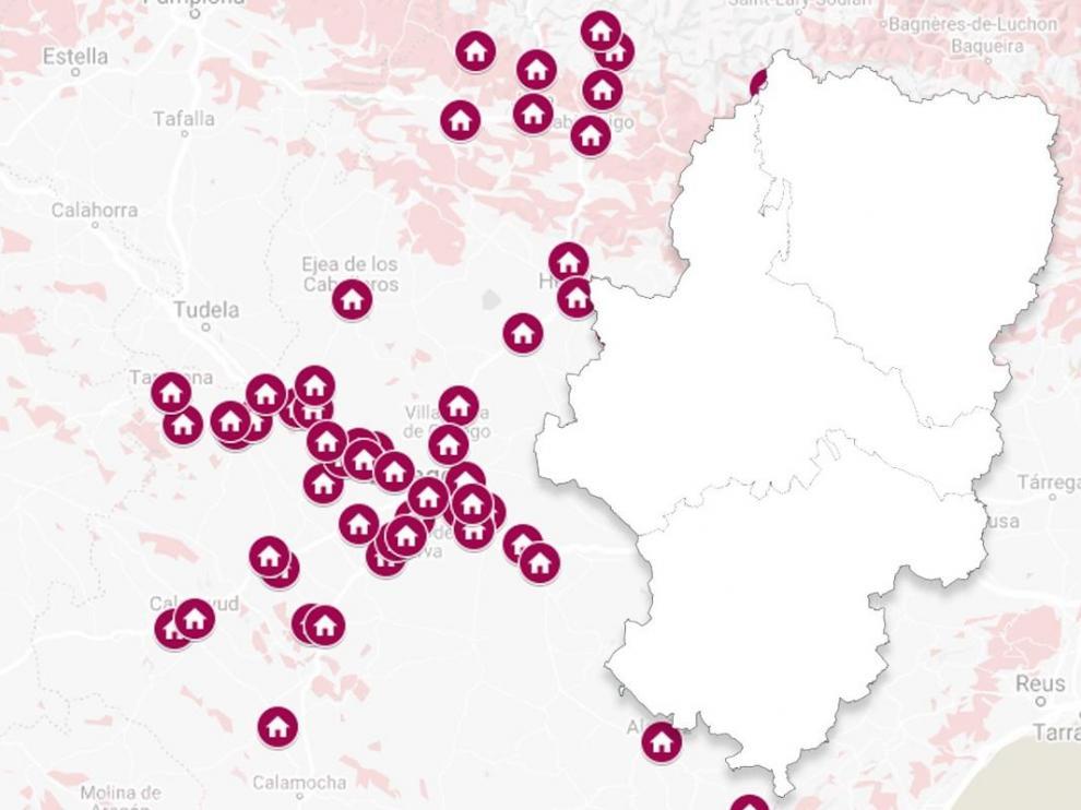 Mapa de Aragón con los pisos de la Sareb repartidos por Zaragoza, Huesca y Teruel