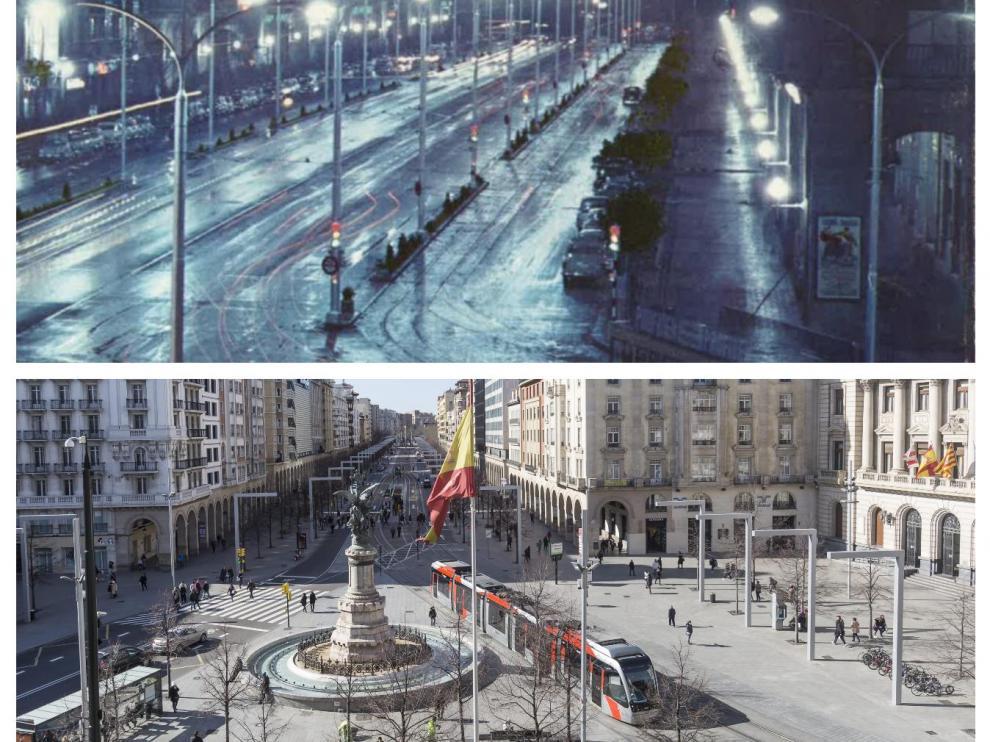 Comparativa del paseo de la Independencia en 1961 y en 2021.