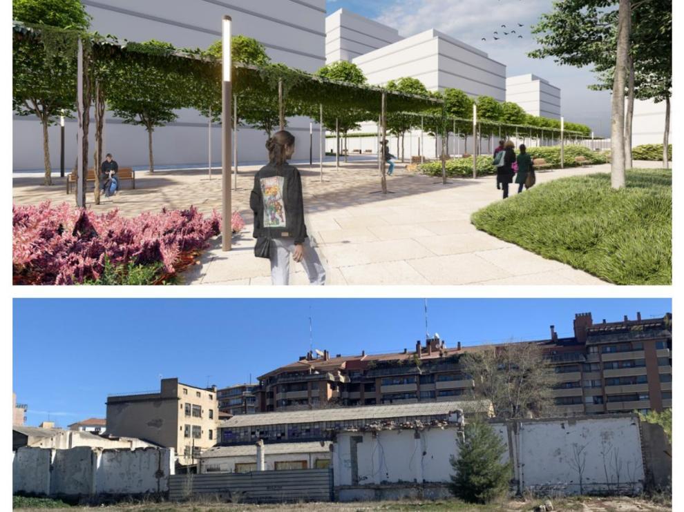 Las antiguas naves industriales darán paso a un moderno barrio en el centro de Huesca.