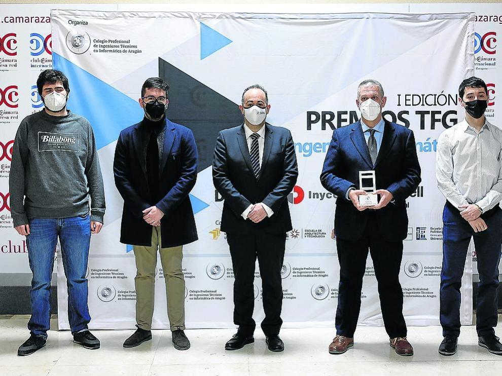 De izquierda a derecha, Lorién López, Íñigo Úriz, Eduardo Peris, Fernando Tricas y Jaime Ruiz, ayer en la Cámara de Comercio de Zaragoza
