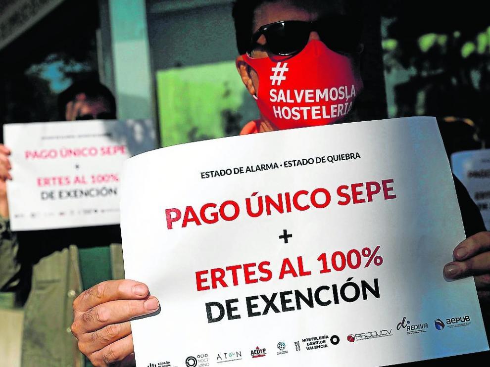 Protesta de la hostelería y el ocio nocturno en la Comunidad Valenciana