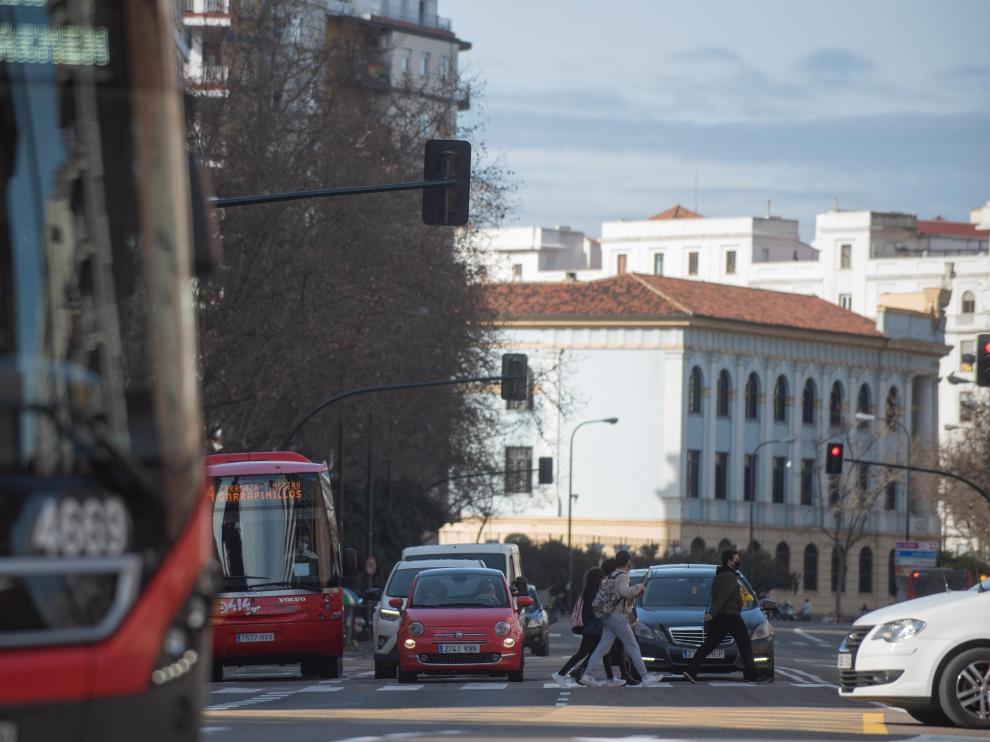 TRAFICO Y CONTAMINACION EN ZARAGOZA / 27-01-2021 / FOTOS: FRANCISCO JIMENEZ[[[FOTOGRAFOS]]][[[HA ARCHIVO]]]