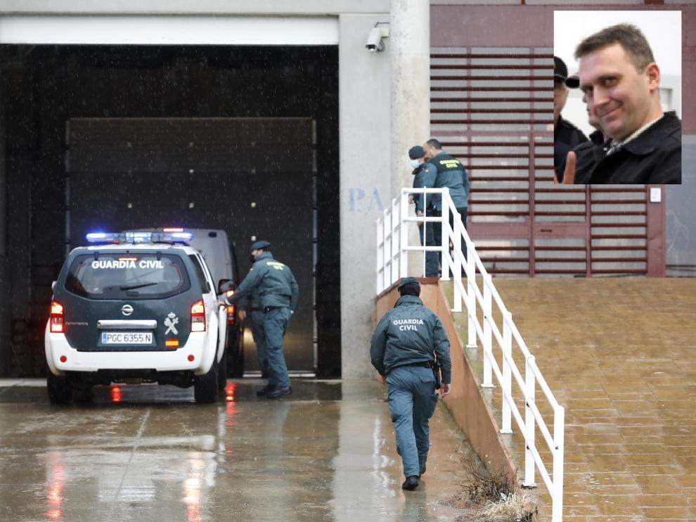 Igor el Ruso a su llegada a la cárcel de Zuera, este domingo.
