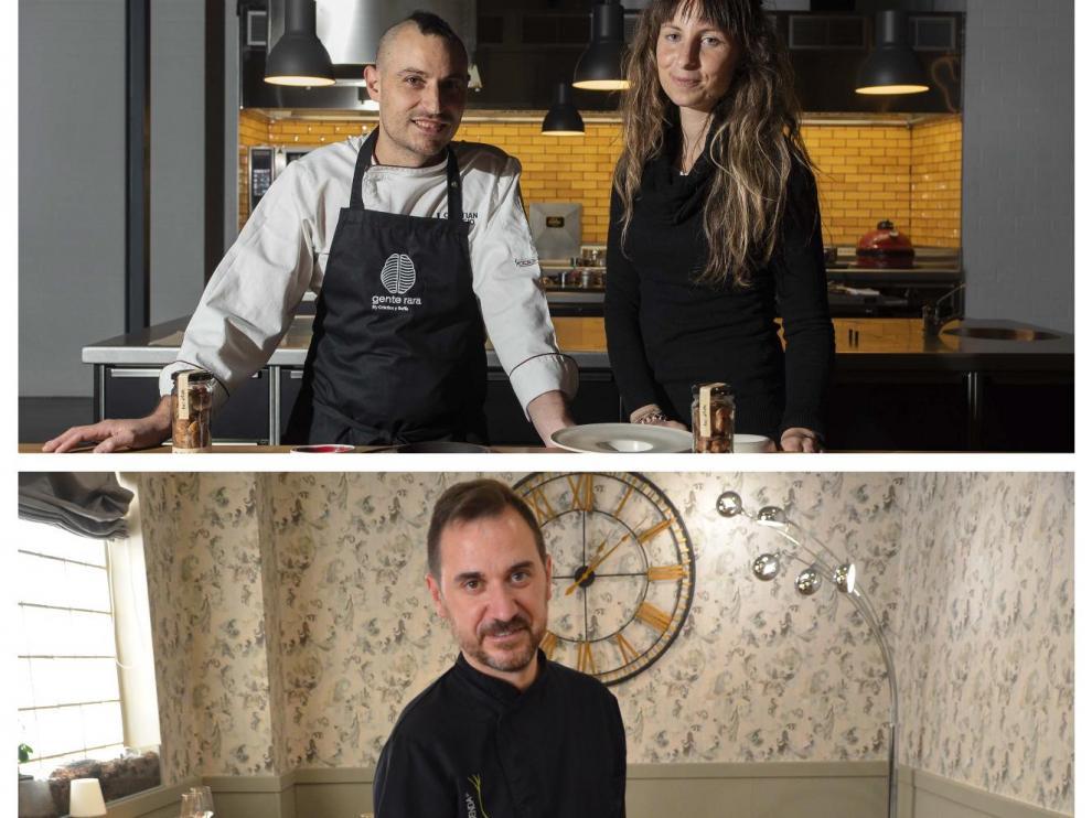 Arriba, Cristian Palacio y Sofía Sanz, de Gente Rara. Abajo, David Baldrich, de La Senda.