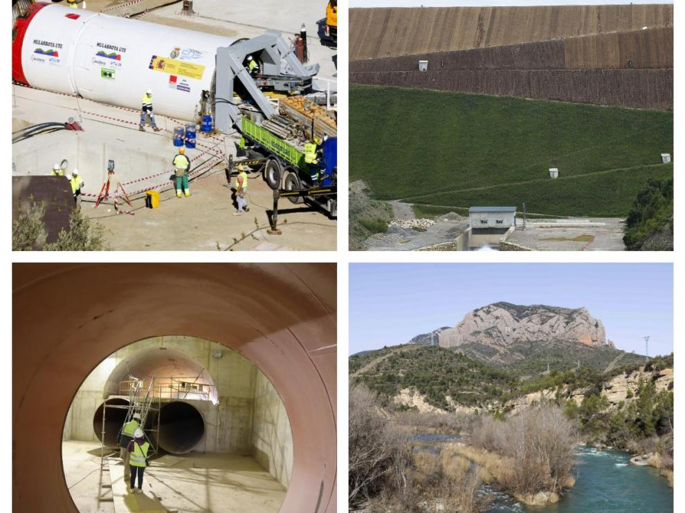 Arriba, las obras del túnel de Mularroya y una imagen del embalse de Yesa. Abajo, los trabajos en una de las presas de Almudévar y el río Gállego, donde finalmente no se construirá Biscarrués.