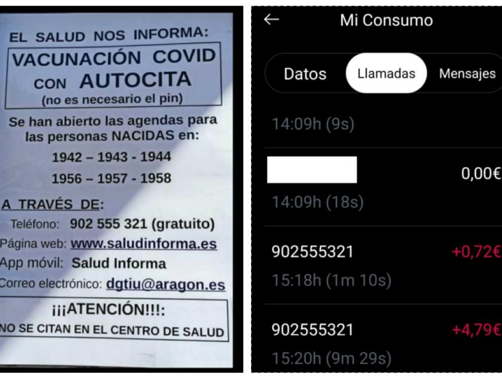 Una imagen del teléfono 902 555 321 (que se anuncia como gratuito) en el cartel de un centro de salud de Santa Isabel. A la derecha, imágenes del coste de llamada asociado a esa línea, en la factura facilitada por una usuaria.