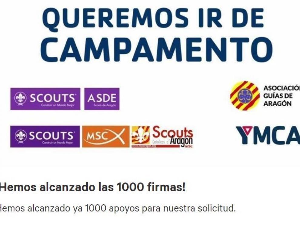 Varias asociaciones recogen firmas para poder realizar campamentos de verano de forma segura en Aragón