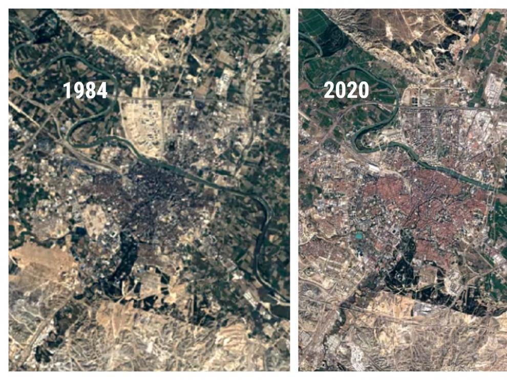 Zaragoza en 1984 y en 2020