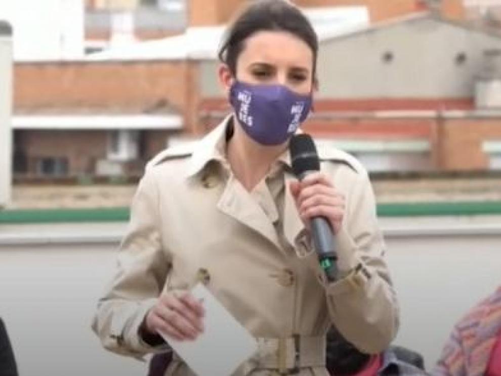 Irene Montero durante su discurso el viernes en Madrid.