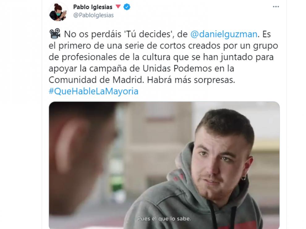 Captura de corto 'Tú decides', de Daniel Guzmán, en apoyo a la campaña de Unidas Podemos en la Comunidad de Madrid.