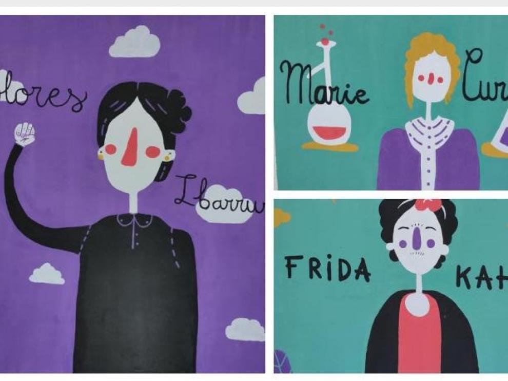 Imagen de Dolores Ibárruri que ha suscitado la polémica, junto a las de Marie Curie y Frida Khalo, otras dos de las mujeres protagonistas del mural
