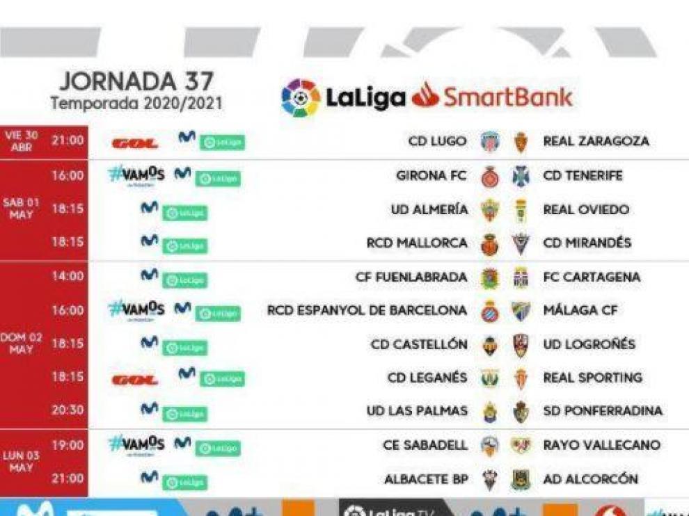 Horarios y fechas de la 37ª jornada de Segunda División.