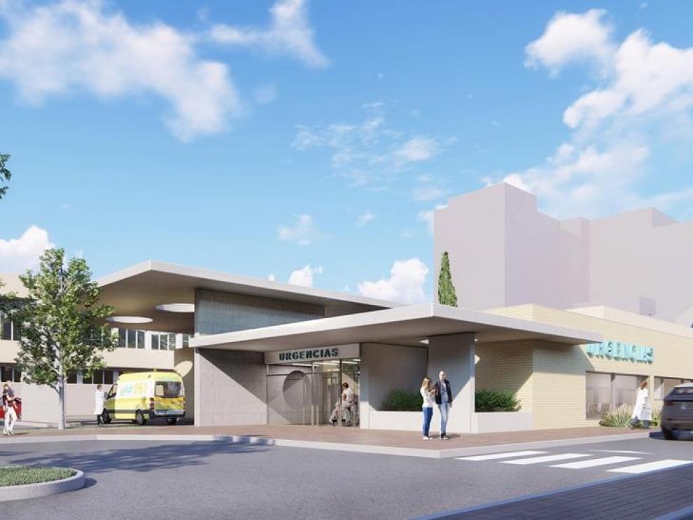 Recreación del futuro edificio de Urgencias del Hospital Universitario San Jorge de Huesca.