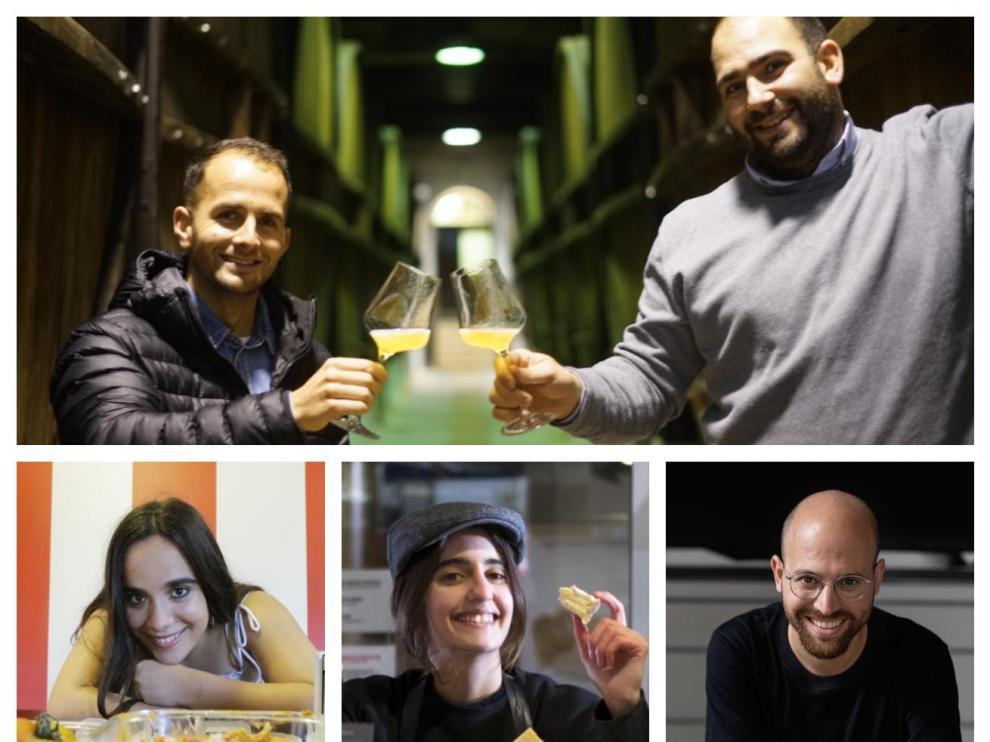 Arriba, Ion y Mikel Zapiain. Abajo, de izda. a dcha., Maitane Alonso, Clara Díez y Marc Coloma.