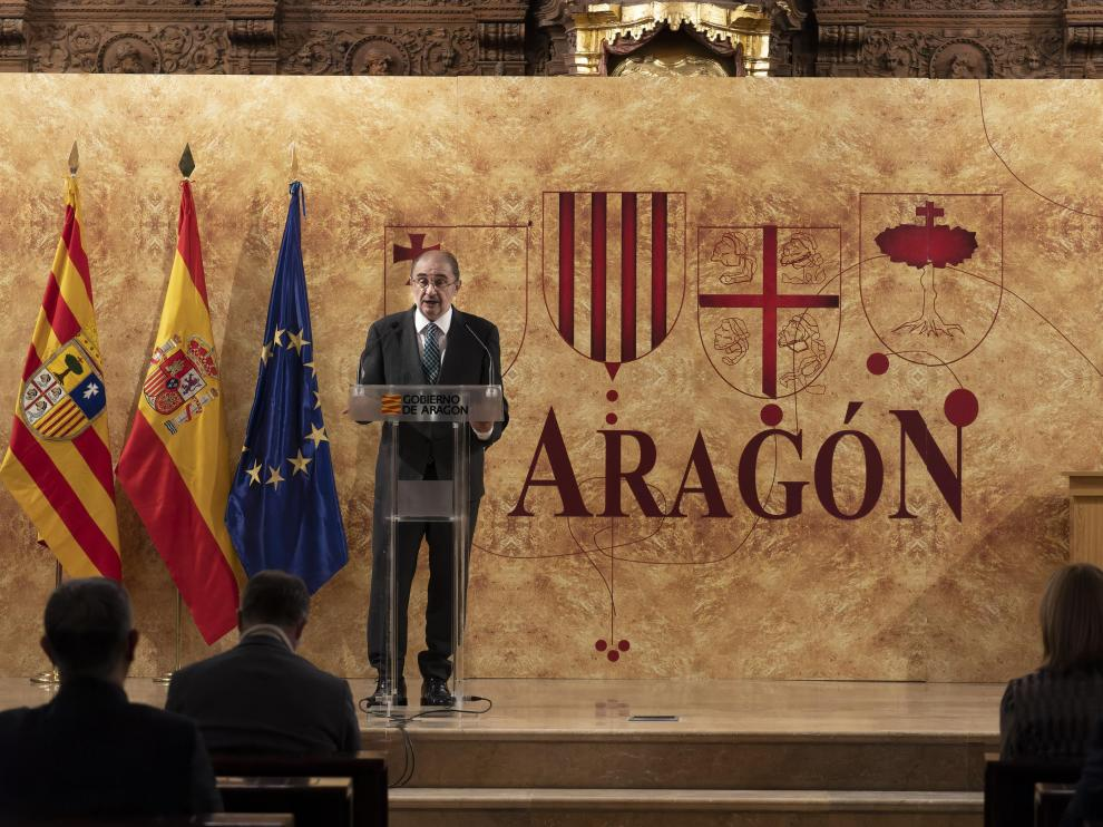 El presidente del Gobierno de Aragón, Javier Lambán, en el acto del Día de Aragón en Teruel