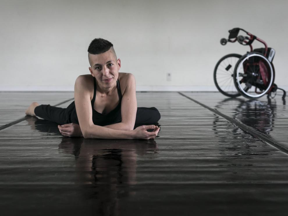 Lydia Onaran, durante uno de sus ensayos en el Centro de Danza de Zaragoza.