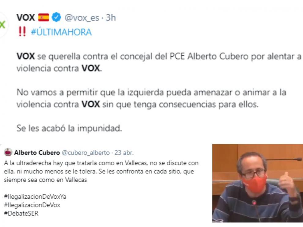Tuits de Vox en respuesta a lo expresado por Alberto Cubero