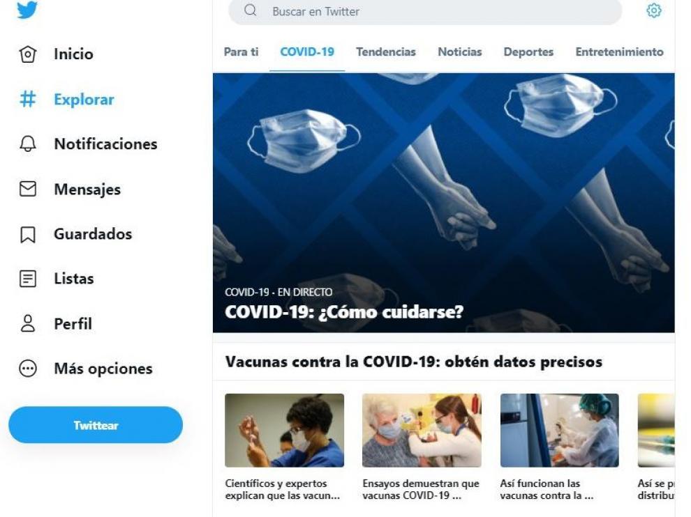Información sobre la covid en la página de Twitter España