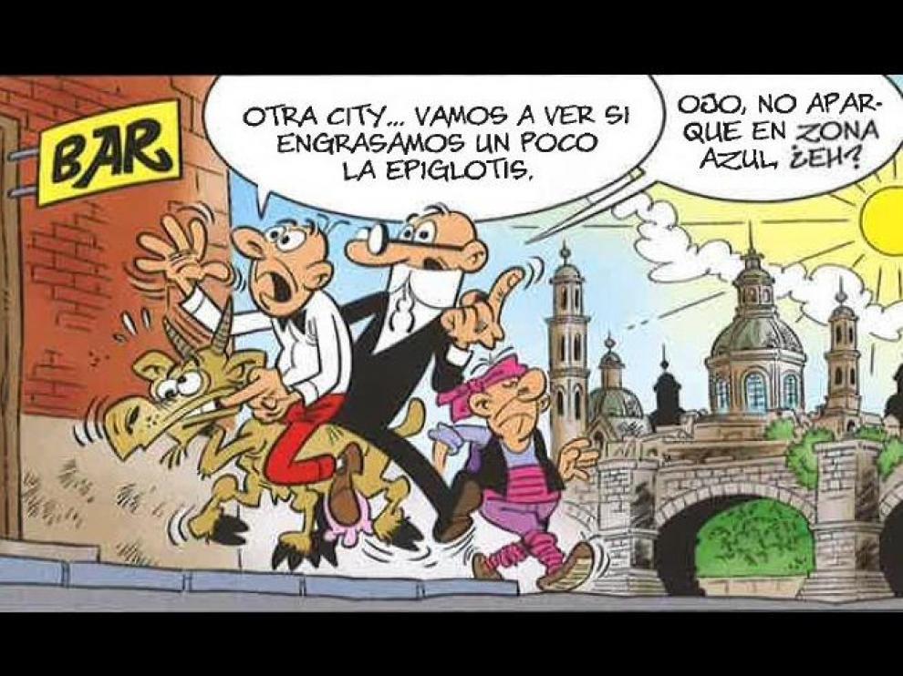 Una de las viñetas, cuya acción transcurre en Zaragoza