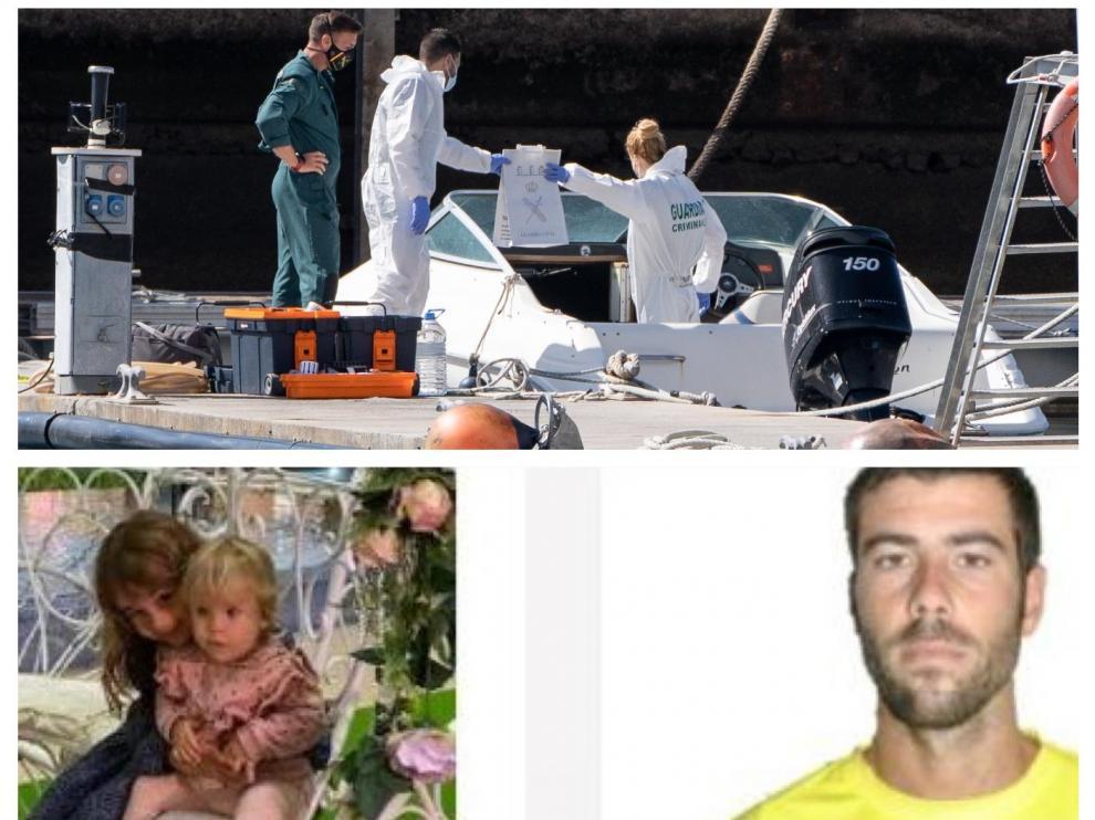 Combo de imágenes de las labores de búsqueda, de las niñas y el padre desaparecido