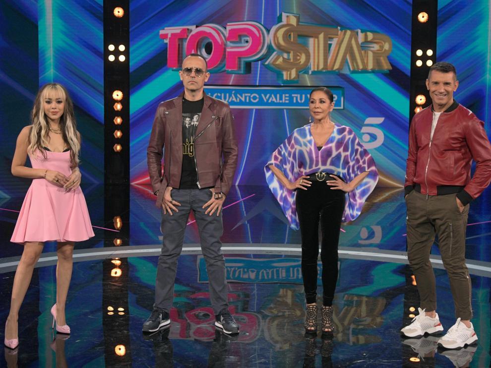 Danna Paola, Risto Mejide, Isabel Pantoja y Jesús Vázquez, en la presentación de 'Top Star. ¿Cuánto vale tu voz?'.