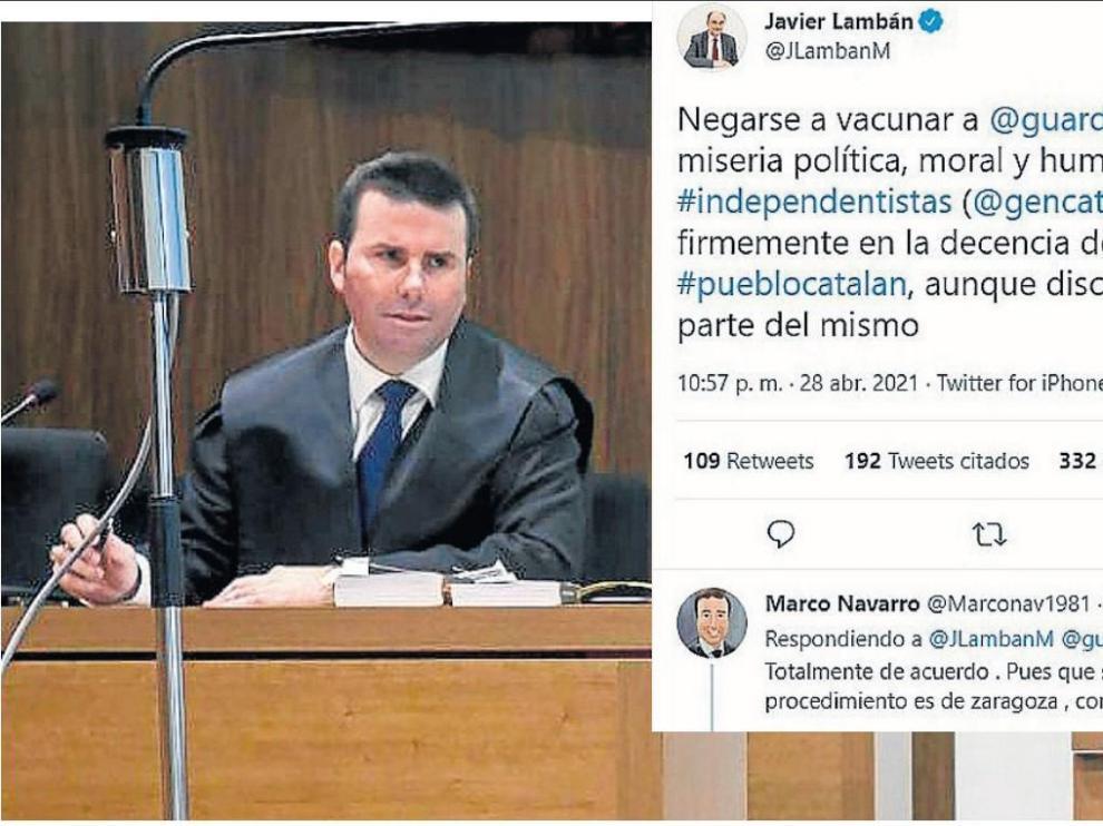 El letrado zaragozano, durante un juicio. A la derecha, los tuits que motivaron la cascada de insultos.