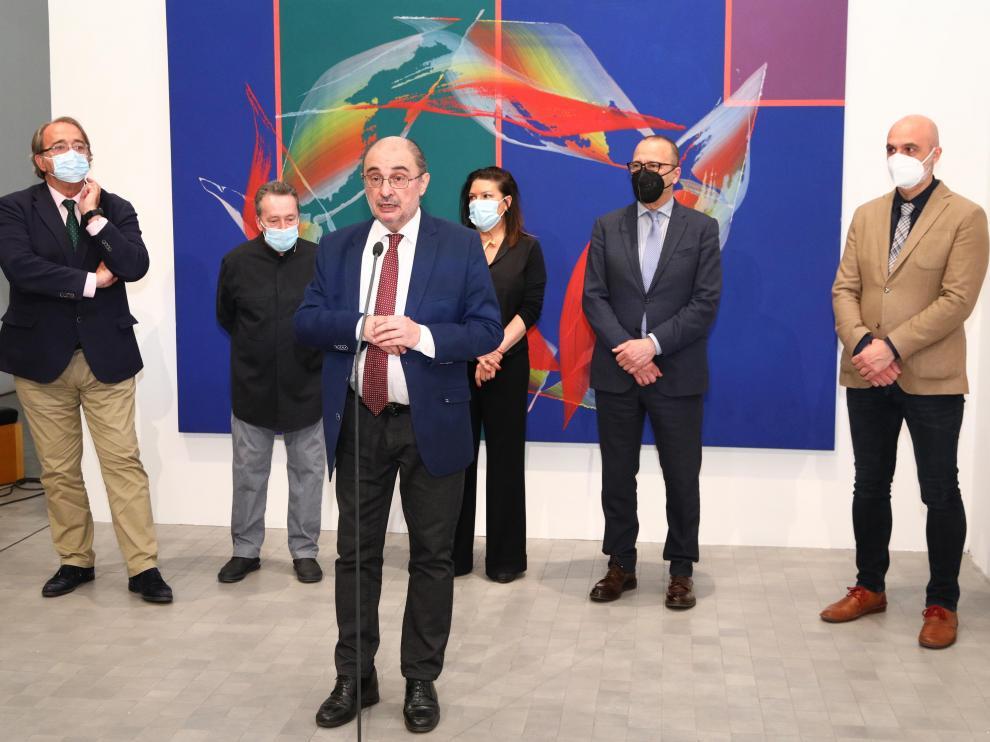 Lambán, este jueves en la presentación en Zaragoza de las obras donadas por el pintor José Manuel Broto