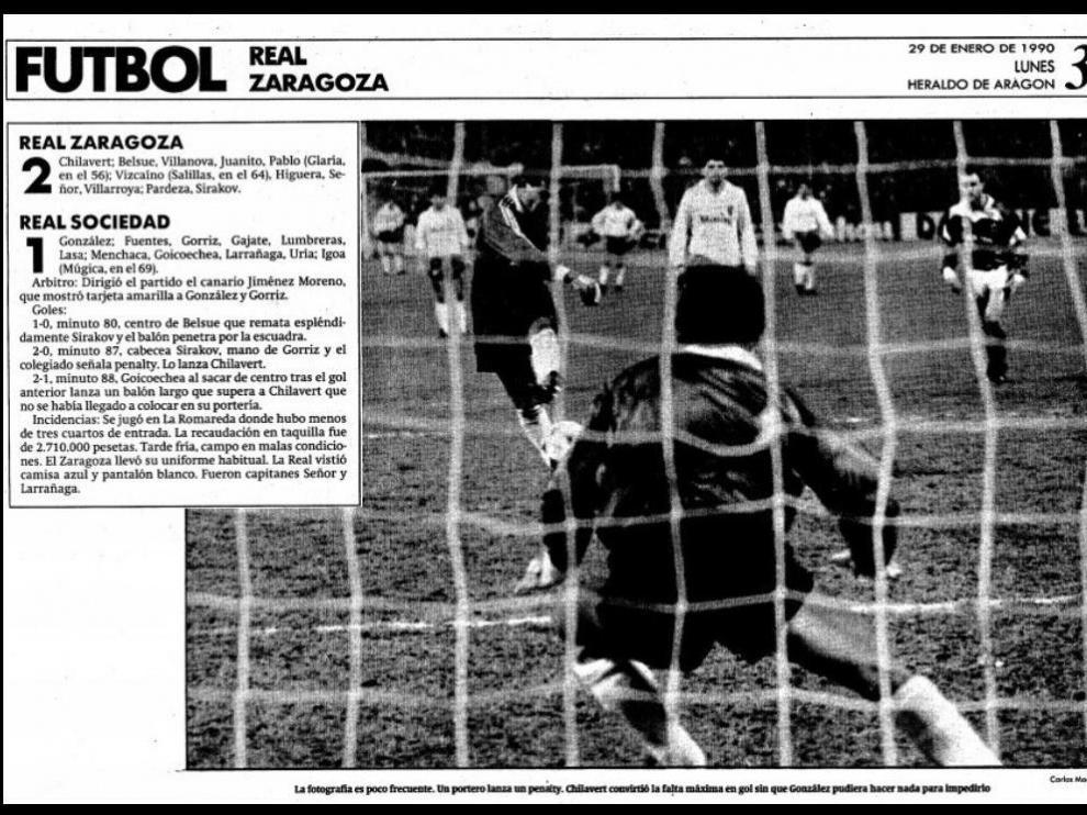 Fotografía de Heraldo en la que se recoge el gol de penalti de Chilavert a la Real Sociedad y la ficha del partido de 1990.