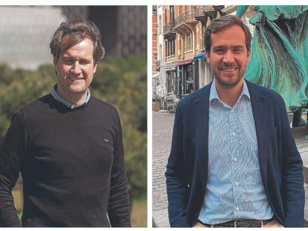 Manuel Giménez Larraz, fotografiado en Madrid y su hermano Borja, en Bruselas.