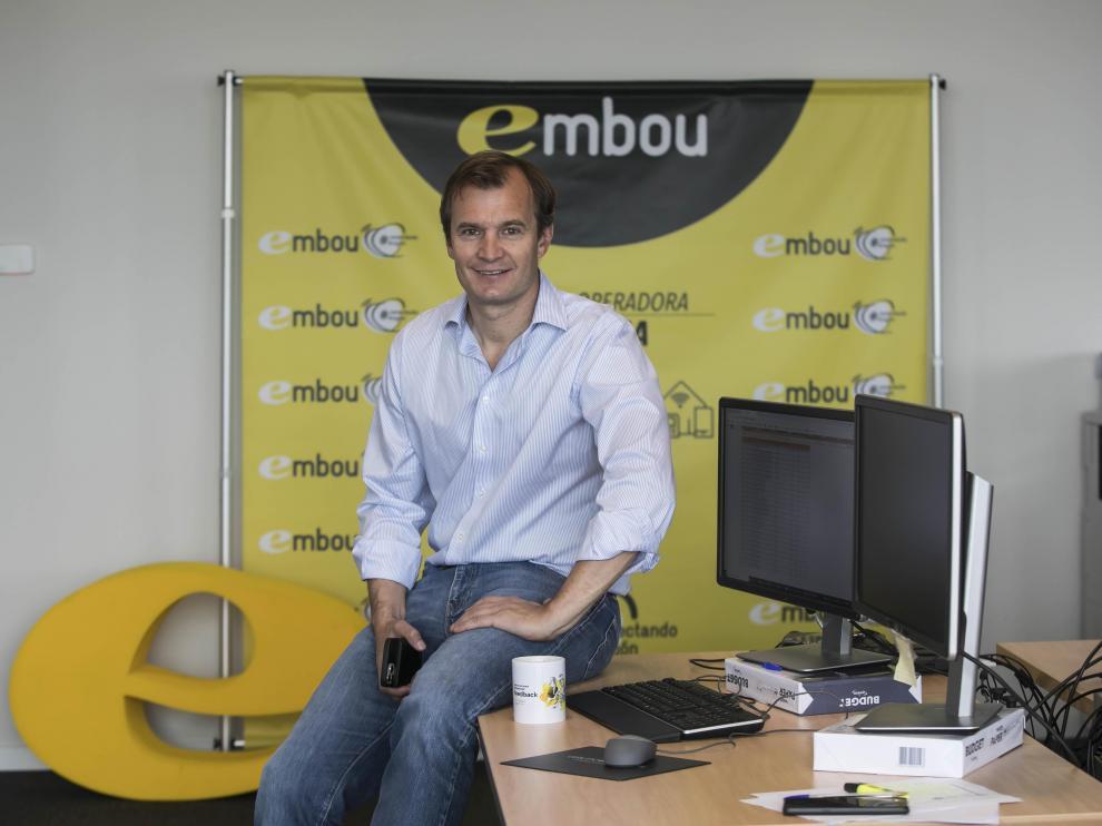 Meinrad Spenger, consejero delegado de Masmóvil, en la sede de la zaragozana Embou.