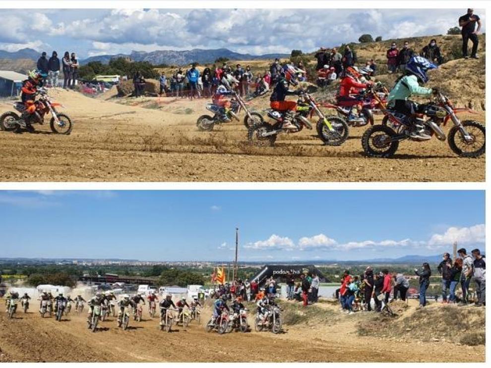 Dos imágenes de la prueba disputada este domingo en Tierz