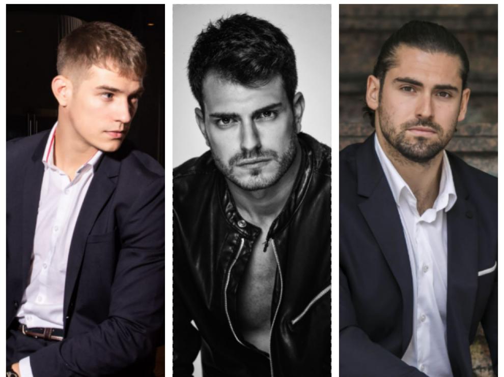 Los tres candidatos aragoneses al certamen de Míster Internacional Spain.
